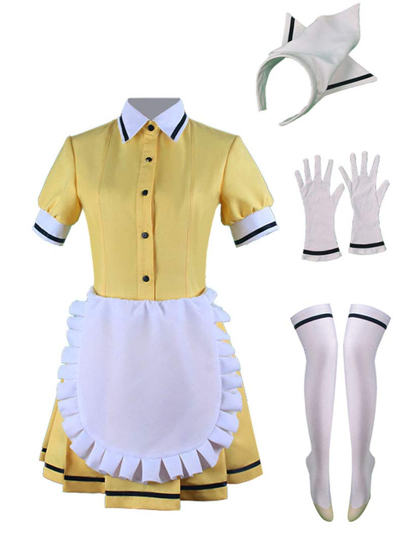 Wish Costume Shop Blend-S Anime Uniforms Cosplay Costumes Full Set (L, Yellow) by Wish Costume Shop