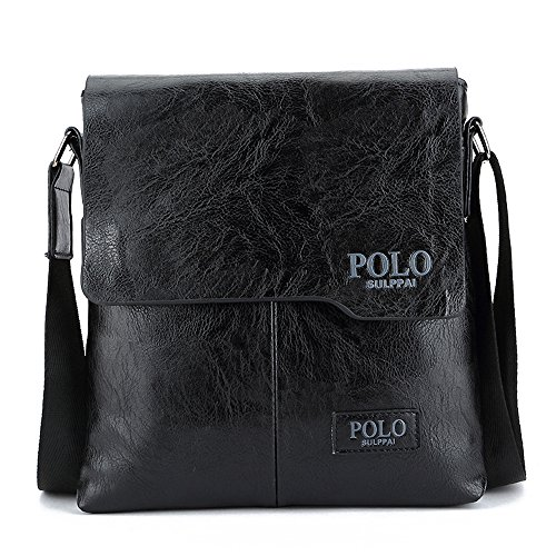 (JN1012-B) Bolso de hombro de cuero de la PU para hombre todos los tres colores Bolso de cuero marrón de moda 3 Bolso pequeño Bolso de hombro pequeño a prueba de agua Negro