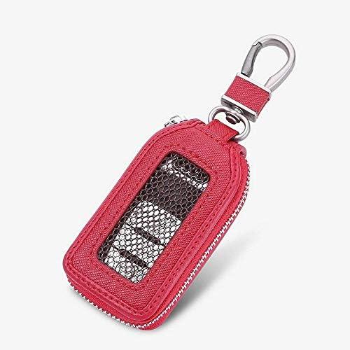 キーホルダーカバー、スマートキーアラームセキュリティプレミアムレザーキーチェーンコインホルダーキーリングフック財布ジッパーケースリモート (Color : Red)