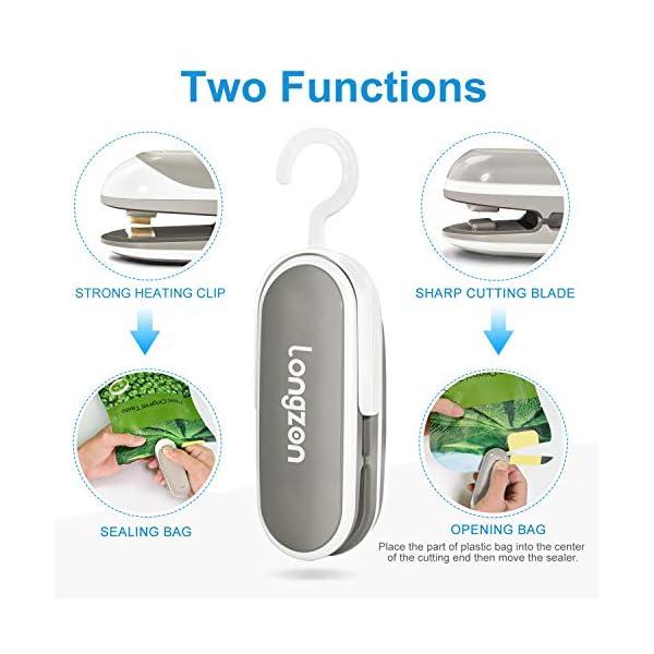 longzon Mini Sigillatore, Sigillatrice Portatile per Sacchetti per Alimenti, Sigillatore per Sottovuoto per Alimenti… 6