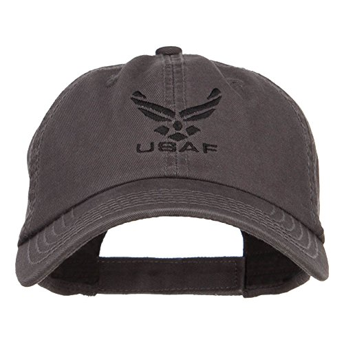 E4hats Black USAF Logo Embroidered Garment Cap - Charcoal Grey OSFM