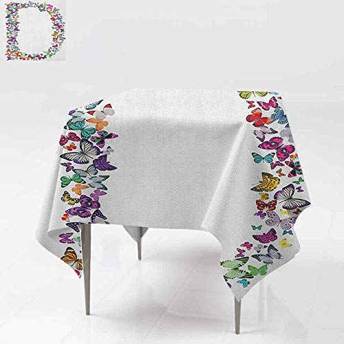 Maroon Monarch Tablecloths - AndyTours Square Table Cloth,Letter D,Magical Creatures Flying Monarch Butterflies Fragility Grace Artistic Collection,Table Cover for Kitchen Dinning Tabletop Decoratio,50x50 Inch Multicolor
