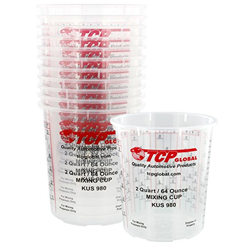 Custom Shop Pack of 12-64 Ounce Paint Mixing Cups (2 Quarts) Cups Have Calibrated Mixing Ratios on Side of Cup