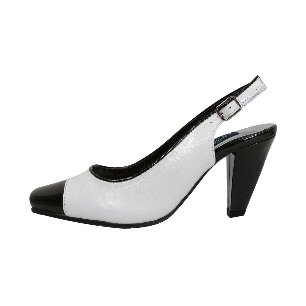 Peerage FIC Roxy Women Wide Width Classic White and Black Dress Slingback (Size/Measurement Guides Avail) B06Y5DG549 10 E|White