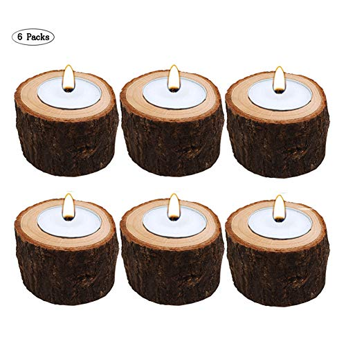 AOMO Tea Light Candle Holders Personalized Wooden Candle Holder for Rustic Wedding Party Birthday Holiday (Candle Holders(6 Packs)) ()