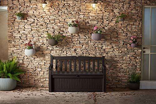 Keter 213126 Eden 70 Gallon All Weather Outdoor Patio Storage Garden Bench Deck Box, Brown Renewed