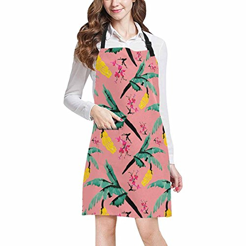InterestPrint Spring Watercolor Pink Branches Of Blooming Magnolia Flowers and Banana Chef Aprons Professional Kitchen Chef Bib Apron with Pockets Adjustable Neck Strap, Plus Size by InterestPrint