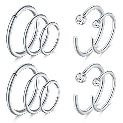JFORYOU Silver Nose Rings Hoop Cartilage Hoop Helix Earrings Stainless Steel Ear Tragus Piercing 18G 6mm 8mm (18g Steel Labret)