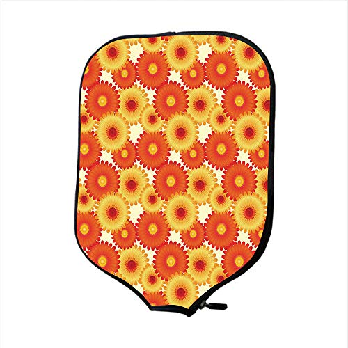 Neoprene Pickleball Paddle Racket Cover Case,Orange,Gerbera Flowers Petals in Graphic Style Vibrant Summer Nature Design Decorative,Orange Yellow Scarlet,Fit for Most Rackets - Protect Your Paddle (Knob Flower Petal Design)