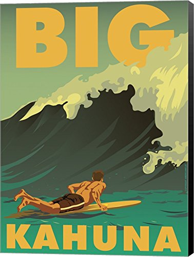 Big Kahuna by American Flat Canvas Art Wall Picture, Museum Wrapped with Black Sides, 11 x 15 inches ()