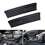 volkswagen cc center console tray - iJDMTOY (2) Black Leather Extra Long Car Side Pocket Organizers, Seat Catcher Holders For Key, Wallet, Phone, Sunglasses, etc