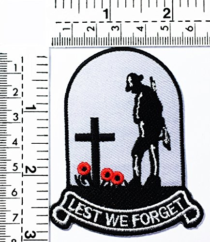 Lest we forget graves soldier Christianity joke funny word kids cartoon patch Applique for Clothes Great as happy birthday -