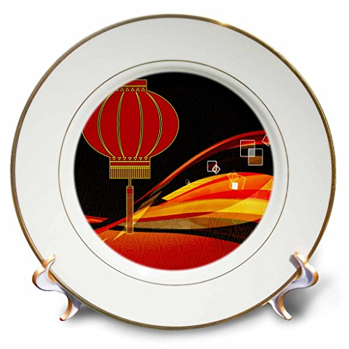 3dRose cp_173259_1 Chinese Lantern with Red, Gold and Black Swirls Chinese New Year-Porcelain Plate, 8-Inch