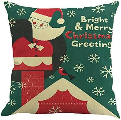 Fundas De Cojines, Xinan Navidad de impresión de teñido sofá cama Decoración del hogar Funda de almohada (O)