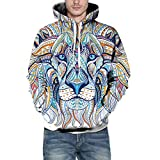 DBHAWK Mens Sweatshirt Fashion Autumn Winter 3D Print Sweater Pullover Long Sleeves Hooded Shirt Blouse