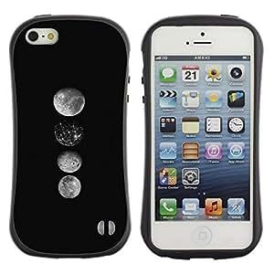 """Hypernova Slim Fit Dual Barniz Protector Caso Case Funda Para Apple iPhone SE / iPhone 5 / iPhone 5S [Arte Luna Formación Espacial Negro Blanco""""]"""