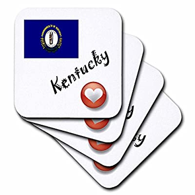 3dRose cst_7185_2 I Love Kentucky-Soft Coasters, Set of 8