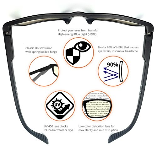 J+S Vision Blue Light Shield Computer Reading/Gaming Glasses - 0.0 Magnification - Anti blue light 100% UV protection Low color distortion, classic matte black frame - Essential Gaming Gear by J+S (Image #2)