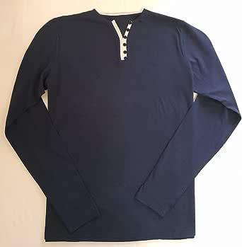 sweatshirt / Henley V Neck / Cotton Slab Fabric / Dark Blue