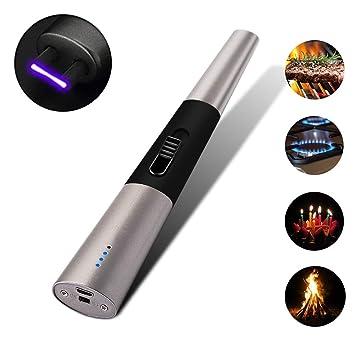 ... USB Encendedor sin Llama con Interruptor de Seguridad, Velas Encendedor Resistente al Viento para Cocina Velas Camping Barbacoa Estufa Fuegos ...