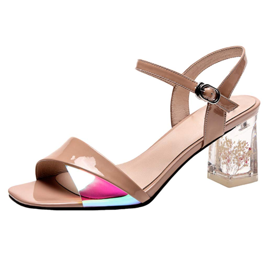 Fastbot Women's Summer Sandals Open Toe Casual Comfort Fashioh Square Heels Shoes Ladies Flower Heel Peep Toe Wedding Brown