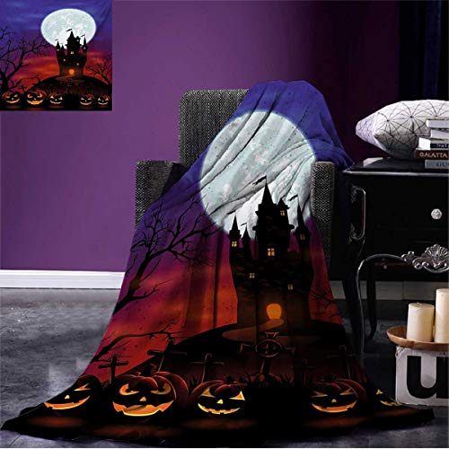 Anniutwo Halloween Printed Blanket Gothic Haunted House Castle Hill Valley Night Sky October Festival Theme Print Soft Throw Multicolor W50 x L30 inch