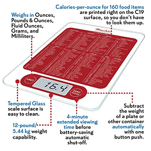 Mackie C19 Food Scale, Digital Kitchen Scale Simple 1g / 0.1 oz Accurate for Cooking Baking Meal Prep Diet Health an American Co.