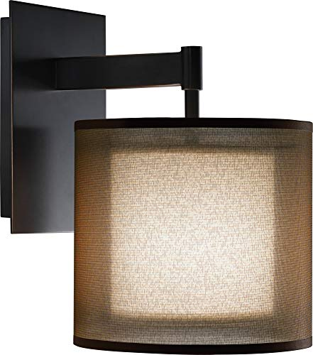 Robert Abbey Z2182 Sconces with Bronze Fabric Inner and Ascot White Outer Shades, Deep Patina Bronze Finish ()
