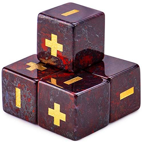 Handmade Semiprecious Stone Fudge Dice (4-Pack) | Premium Engraved 16mm Dice Accessories & Black Velvet Pouch | Fate Tabletop RPG Gaming (Poppy Jasper)