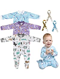 Lictin 6pcs 100% Cotton Baby Long-Sleeved Romper Zipper Pajamas with Pacifier Chains Giraffe,Unicorn Design(6-10M)