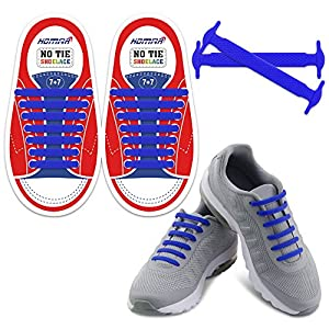 Homar Reflective Kids No Lock No Tie Shoelaces with High Performance - Best in No Tie Shoelace Replacement Accessories - Athletic Flat Shoe Laces - Blue