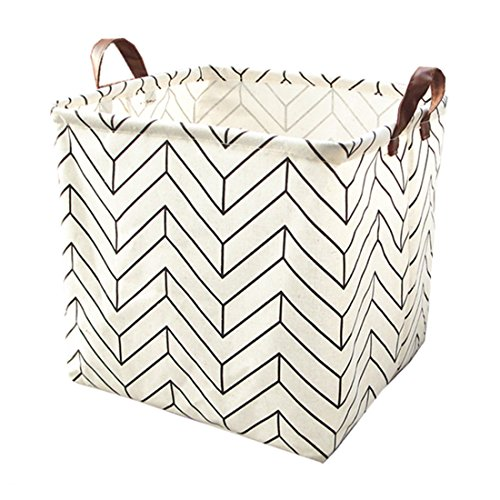 Square Canvas Toy Storage Bins Basket with Handle Collapsible Toy Organizer for Nursery Storage, Kids Toy & Laundry, Gift Baskets (White-Geometric)