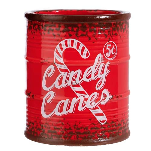 (Vintage Style Christmas Canister with Peppermint Red and White Striped Candy Canes, 5 inches)