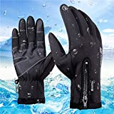 anqier Winter Gloves, Touch Screen Windproof Warm Hand Gloves Cycling Gloves for Men and Women, Black, X-Large