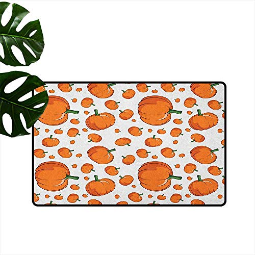 Harvest Thin Door mat Halloween Inspired Pattern Vivid Cartoon Style Plump Pumpkins Vegetable Quick and Easy to Clean W31 x L47 Orange Green White]()