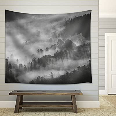 Magnificent Craft, Landscape with Monochrome Mountain in Fog Fabric Wall, Created By a Professional Artist