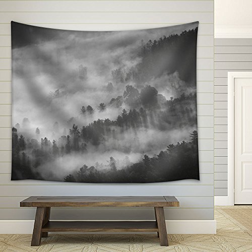 Landscape with Monochrome Mountain in Fog Fabric Wall
