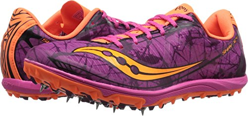 Saucony Women's Shay XC4 Racing Shoe, Raspberry/Vizi Orange, 8 M US