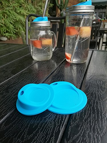 Reusable Drinking Sip Lids, Food Grade Silicone, BPA FREE for Mason, Ball, Canning Jars (Blue, Wide Mouth with OVAL drinking hole, 6pack)