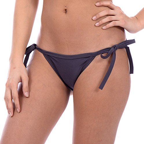 Women's New String Bikini Swimsuit Bottom By Gary Majdell Sport (New Charcoal, Large) - Grey Bikini Bottoms