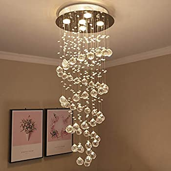 Image of Close To Ceiling Lights Crystal Spiral Raindrop Chandelier Pendant Lamp Modern Chandelier Ceiling Light Flush Mount LED Lighting Fixtures for Living Room Dining Room 5 GU10 Bulbs Required H40' X W16'