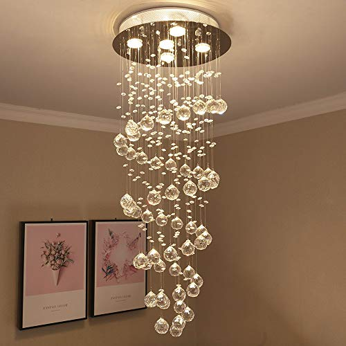 "Crystal Spiral Raindrop Chandelier Pendant Lamp Modern Chandelier Ceiling Light Flush Mount LED Lighting Fixtures for Living Room Dining Room 5 GU10 Bulbs Required H40"" X W16"""