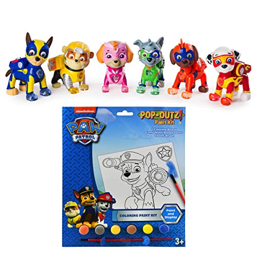 PAW Patrol Mighty Pups 6-Pack Figures with Light-up Badge and Paws Plus Bonus Coloring Paint Set Bundle