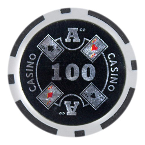 Brybelly Ace Casino Poker Chip Heavyweight 14-gram Clay Composite – Pack of 50 ($100 Black) - Pro Poker Clay Poker