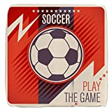 18 Inch 6-Sided Cube Ottoman Soccer Football Play The Game Red