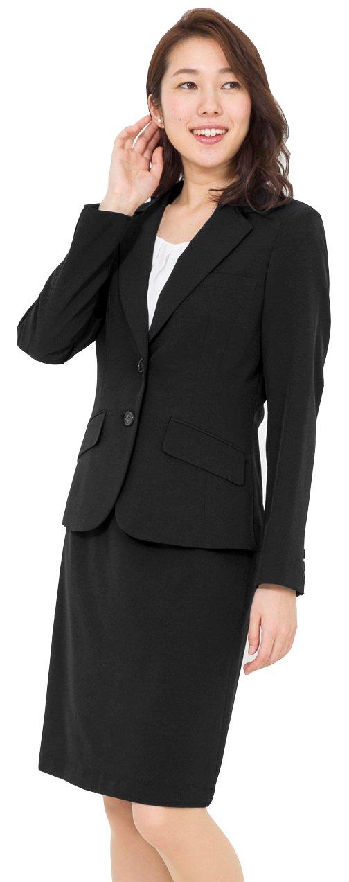 (アッドルージュ) AddRouge スーツ レディース 2点 セット 洗える ジャケット タイトスカート ひざ丈【j5097】 B01MZ3R4YD 21号ABR ブラック ブラック 21号ABR