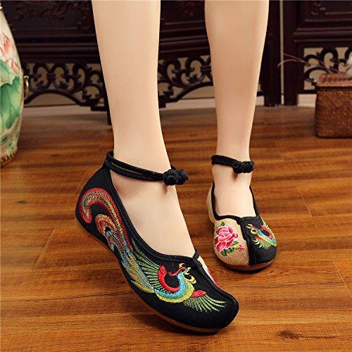 Habillement Phoenix Antidérapage Dichotomanthes Beijing Fond Chaussures Black vieux Mou Rétro À Khskx 1vxwa