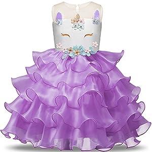 Toddler Flower Girl Unicorn Costume Dress Ruffles Party Wedding Princess Dress