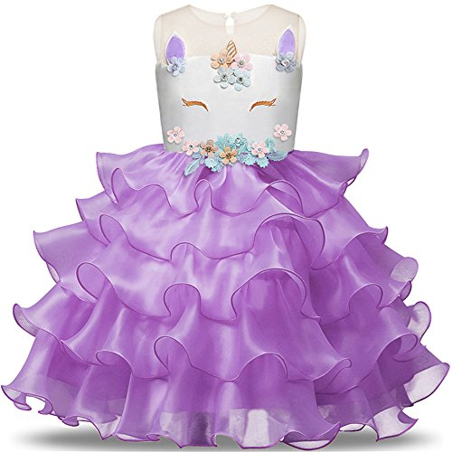 Toddler Flower Girl Unicorn Costume Dress Ruffles Party