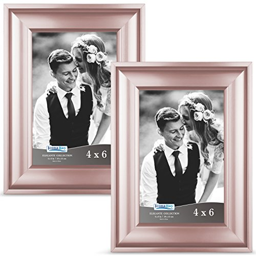 Icona Bay 4x6 Picture Frame (2 Pack, Rose Gold), Rose Gold Photo Frame 4 x 6, Wall Mount or Table Top, Set of 2 Elegante Collection